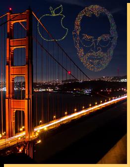 gala drone light show in San Francisco, Apple logo
