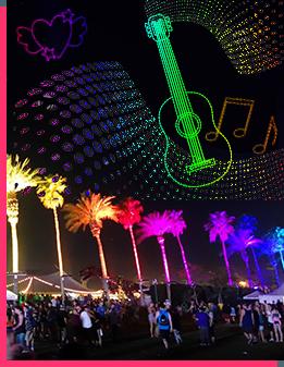 gala drone light show coachella music festival